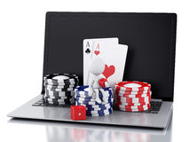 3d white people with laptop. Casino online games concept Stock Photo