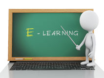 3d white people with laptop. e- learning concept. Stock Photography