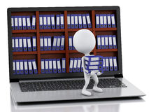 3d White people with Laptop and files. Royalty Free Stock Photography