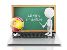 3d white people with laptop. Learn spanish concept. Royalty Free Stock Images