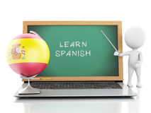 3d white people with laptop. Learn spanish concept. Stock Image