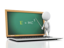 3d white people with laptop. Online education concept Stock Photography