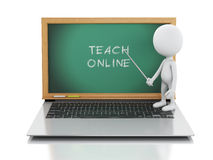 3d white people with laptop. Online education concept Royalty Free Stock Photos