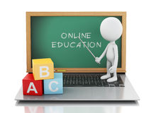 3d white people with laptop. Online education concept Royalty Free Stock Image