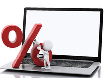 3d White people on Laptop. Online shopping concept Stock Image
