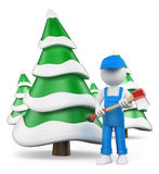3D white people. Lumberjack with axe at snow covered fir forest. White background Royalty Free Stock Photos