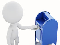 3d white people with  mail box and envelope. Stock Photos