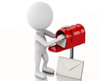3d white people with mail box and heap of letters. Stock Photography