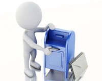3d white people with  mail box and heap of letters. Stock Images