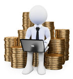 3D white people. Make money on Internet concept. Man sitting on a pile of coins with a laptop. White background Royalty Free Stock Photography