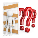 3D white people. Man closing the door to doubt. With wooden boards and nails. White background Stock Photo