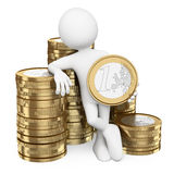3D white people. Man with piles of euro coins Royalty Free Stock Photography