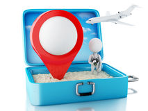 3d white people with map pointer in a travel suitcase Stock Photos