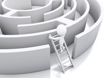 3d White people in a maze with white stairs. Stock Photography