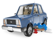 3D white people. Mechanic repairing a car Stock Image