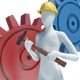 3d white people. Mechanical Engineer with hammer and gear Stock Photography