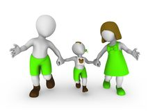 3d white people: mom, dad and son. 3d rendered illustration Stock Images