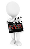 3d white people movie clapper Royalty Free Stock Photos