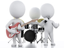 3d white people. Music group on white background Stock Photography