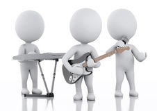 3d white people. Music group on white background Stock Images