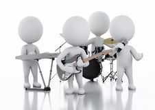 3d white people. Music group on white background Stock Photos