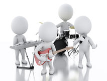 3d white people. Music group on white background Royalty Free Stock Image