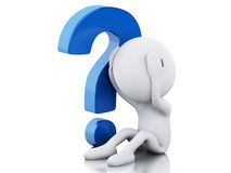 3d White people need help with question mark Stock Photo