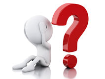 3d White people need help with question mark Stock Image