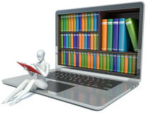 3d white people. New technologies. Digital Library. Concept. Laptop Stock Photos