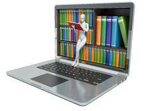3d white people. New technologies. Digital Library. Concept. Laptop Stock Photography