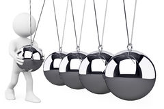 3D white people. Newton's Cradle Royalty Free Stock Photo