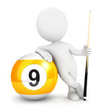 3d white people nine pool ball Royalty Free Stock Images