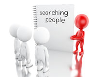 3D White people and notepad with SEARCHING PEOPLE. Stock Photo