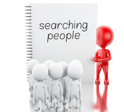 3D White people and notepad with SEARCHING PEOPLE. Stock Photography