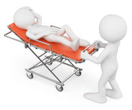 3D white people. Nurse carrying a patient on a stretcher Royalty Free Stock Photo