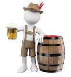 3D white people. Oktoberfest. Man with a beer barrel. And a mug. White background Royalty Free Stock Photography