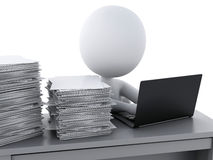 3d White people Overworked with stack of documents. 3d renderer image. White people Overworked with stack of documents. Stress in the office. Isolated white Stock Images