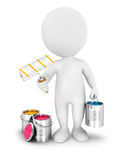 3d white people with paint roller. White background, 3d image Royalty Free Stock Photos
