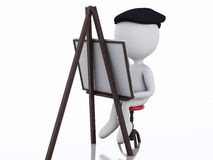3d white people painter with an easel Royalty Free Stock Images