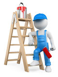 3D white people. Painter with ladder. 3d white person painter with ladder and paint roller. White background Royalty Free Stock Images