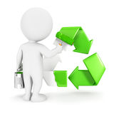 3d white people painting recycle sign Royalty Free Stock Photography