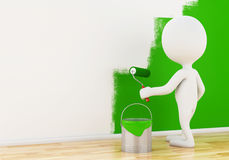 3d White people painting wall with a roller. Stock Images