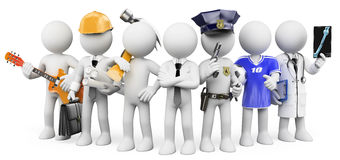 3D white people. People working in different professions. White background royalty free illustration