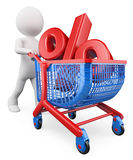 3D white people. Percent rate trolley concept. Discount Royalty Free Stock Photo