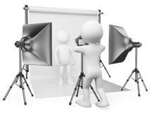 3D white people. Photographer studio Stock Image