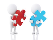 3d white people with piece of a puzzle. 3d image. White people with piece of a puzzle.  white background Stock Image