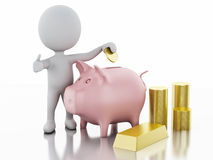 3d white people with piggy bank and stacks of gold coins Stock Images