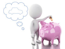 3d White people with Piggy bank, thinking of buying a new car. Royalty Free Stock Photo