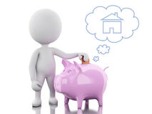 3d White people with Piggy bank, thinking of buying a new house. Stock Photo