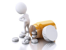 3D white people with pills. Royalty Free Stock Images